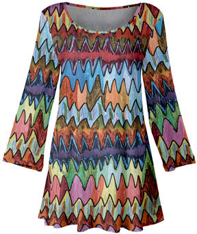 Lily Multicolor Marker Pen Abstract Zigzag A-Line Tunic - Women & Plus