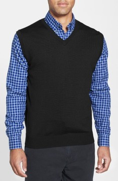 Cutter & Buck Men's Big & Tall Douglas Merino Wool Blend V-Neck Vest
