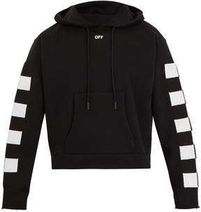Off-White Checkered cropped hooded cotton sweatshirt