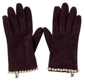 Louis Vuitton Embellished Suede Gloves