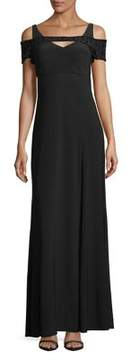 Betsy & Adam Embellished Floor-Length Dress