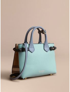 Burberry The Small Banner in Tri-tone Leather and House Check - PALE OPAL/SLATE BLUE - STYLE