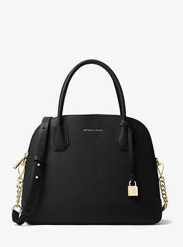Michael Kors Mercer Large Leather Dome Satchel - BLACK - STYLE