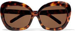 Linda Farrow Oversized Square-frame Acetate And Gold Sunglasses - Brown