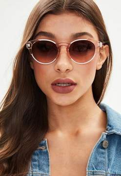 Missguided Pink Metal Detail Round Sunglasses