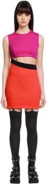 Fausto Puglisi Cutout Wool Jersey Mini Dress