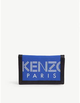 Kenzo Striped logo leather trim wallet