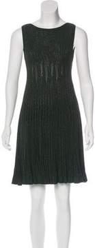 Alaia Metallic Knit Fit & Flare Dress