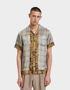 Dries Van Noten Satin Shirt in Beige Multi