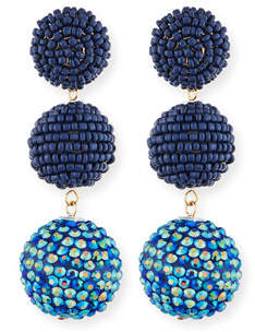 Kenneth Jay Lane Beaded Three-Drop Ball Earrings
