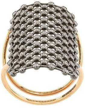 Diane Kordas crystal embellished net pattern ring
