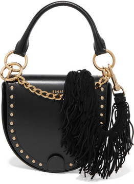 Sacai Horseshoe Suede-trimmed Studded Leather Shoulder Bag - Black