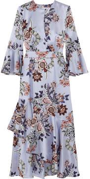 Erdem Florence Floral-print Silk-satin Midi Dress - Blue