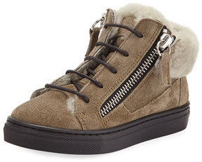 Giuseppe Zanotti Jasmin Suede Shearling-Lined Boot, Neutral, Toddler
