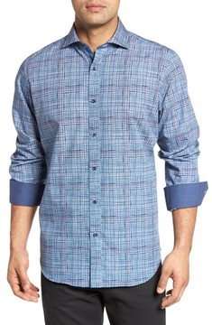 Bugatchi Men's Classic Fit Grid Print Sport Shirt