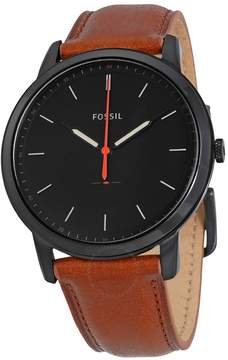 Fossil Minimalist Black Dial Brown Leather Men's Watch