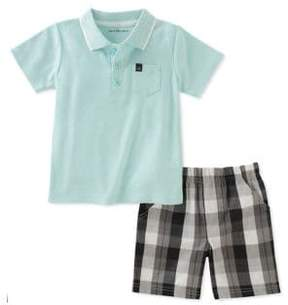 Calvin Klein Jeans Baby Boy's Two-Piece Cotton Top and Plaid Shorts Set
