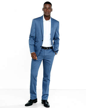 Express Slim Blue Cotton Sateen Suit Pant