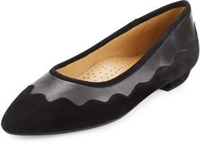 Neiman Marcus Gowyn Suede Scalloped Flat, Black