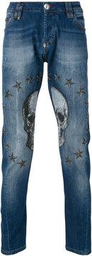 Philipp Plein embellished skull tapered jeans