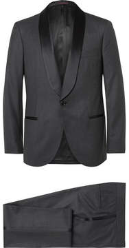 Brunello Cucinelli Grey Slim-Fit Satin-Trimmed Wool And Silk-Blend Tuxedo