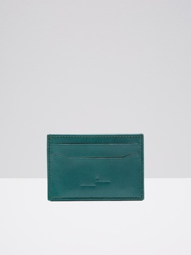 Frank and Oak Leather Card Holder in Seaweed