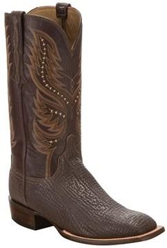 Lucchese Men's Sharkskin Leather Horseman Style Western Boot.