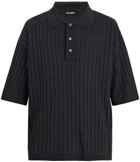Raf Simons Point-collar ribbed-knit polo shirt