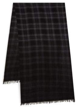 John Varvatos Plaid Merino Wool Scarf