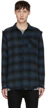 R 13 Blue Shredded Seam Shirt