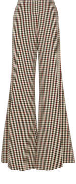 Caroline Constas High-Rise Wide Leg Gingham Wool Trouser