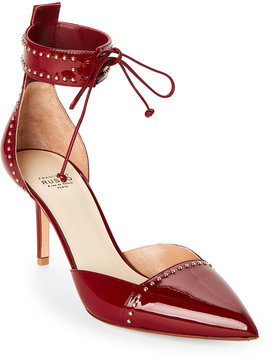 Francesco Russo Deep Red Studded Pointed Toe Two-Piece Pumps