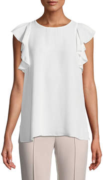 T Tahari Sleeveless Blouse w/ Ruffle Trim