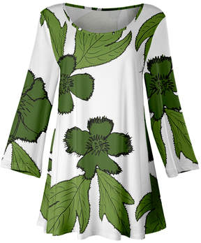 Lily White & Green Floral Scoop Neck Tunic - Women & Plus