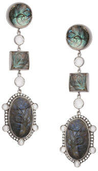 Coomi Affinity Three-Drop Labradorite Earrings with Diamonds