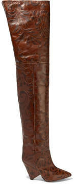 Isabel Marant Lostynn Embossed-leather Over-the-knee Boots - Brown