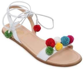 Aquazzura Mini Pompom Nappa Leather Sandals