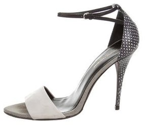 Narciso Rodriguez Snakeskin-Accented Leather Sandals