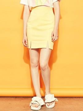 Blank Slit Mini Skirt-yl