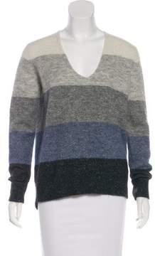 White + Warren Striped Long Sleeve Sweater