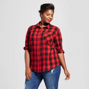 Ava & Viv Women's Plus Size Button Down Plaid Shirt Red