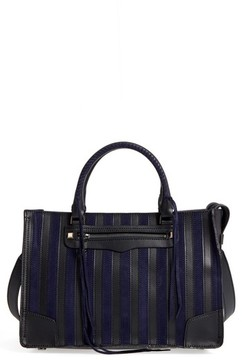 Rebecca Minkoff Regan Stripe Leather & Suede Top Handle Satchel - Blue - BLUE - STYLE