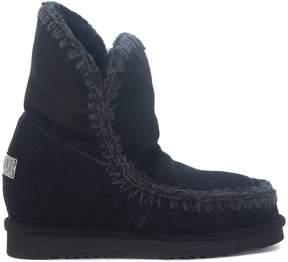 Mou Eskimo Inner Wedge Short Black Ankle Boots