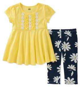 Kids Headquarters Baby Girls Two-Piece Ruffled Top and Capri Pants Set