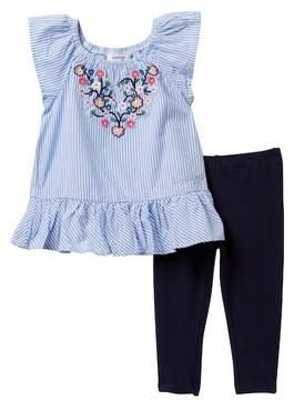 Bebe Stripe Top & Leggings Set (Baby Girls)