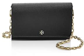 Tory Burch Robinson Saffiano Leather Chain Wallet - BLACK/GOLD - STYLE