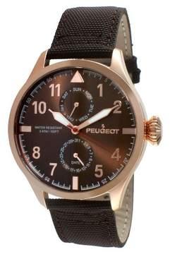 Peugeot Watches Men's Round Multifunction Nylon Strap Watch - Brown