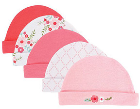 Luvable Friends Pink & White Floral Beanie Set - Newborn