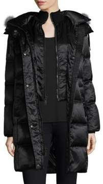 Andrew Marc Fox Fur-Trimmed Long Puffer Coat