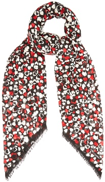 Saint Laurent Heart-print wool scarf